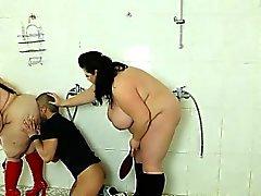 Poor voyeur guy gets punished by 2 strict BBW ladies