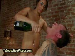 Tied up guy anal fucked by tranny