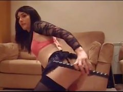 Sexy British Crossdresser Wank Dildo Using