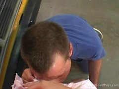 Busty Blonde Pigtail Teen Fucks The Bus Mechanic