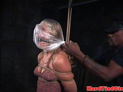Whipped sub gagged during brutal breathplay