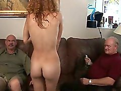 Laila, what beautiful red hair you have, What perfect round nipples and tight little coochie too. Will you share your goodies with these two old sheep? Cum watch Laila get tricked into exposing what's under her coat to our big bad boners for a little extr