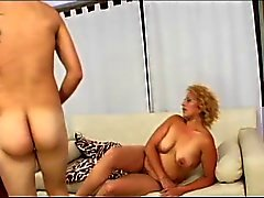 Curly blonde with fat rolls gets drilled in living room