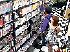 Yuma busty sucks stiffy at shop
