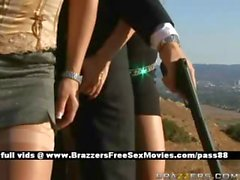 Two blonde sluts outside threaten a guy with a gun