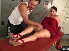 Slutty brunette seduced her man into slamming