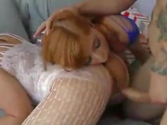 Two incredible hot girls in catsuit play with a hard dick