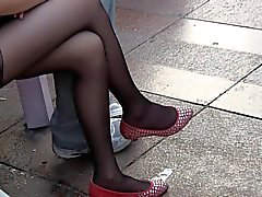 Candid Teen Legs and Feet in Sheer Black Nylons