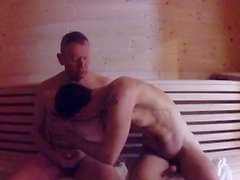 Mature Daddy Fucks Boy in Sauna - Older Younger Bareback