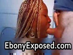 Braided ebony cutie warm blowjob
