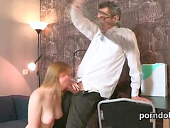 Lovable bookworm gets seduced and plowed by her senior teach