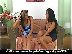 Amateur amazing sexy brunette lesbian girls undressing