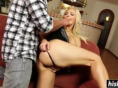 Jenna Lovely masturbates while fucking hard