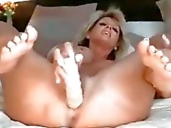 MILF pussy blonde anal dildo