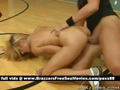 Sexy naked blonde babe on the basketball court