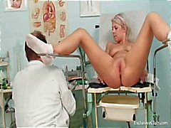 Pretty teen Sabina coming to her gyno doctor for pussy exam on gynochair