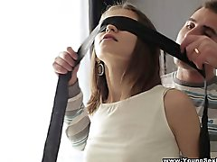 Young Sex Parties - Blindfolded surprise threeway