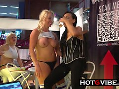 Lesbians Pussy Licking and Toying in PUBLIC