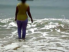 Desi Wife On Beach - Wet & Transparent Cloth