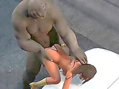 3D superhero babe gets fucked hard by a troll