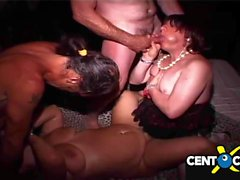 Depraved orgy on the prive! Wives, crossdresser and bisexual