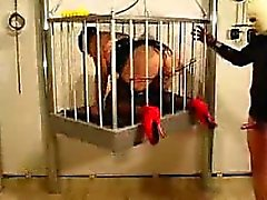 Gemma locked up in a cage and humiliated