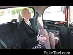 Gorgeous blonde in sex bribe in taxi