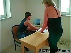 Chubby, saggy tit blonde mom gets felt up and her pussy licked