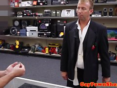 Straight pawnshop client buttfucked for money