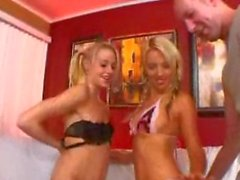 Two blondes in pigtails suck and fuck a big dick