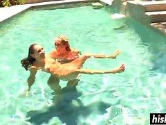 Lesbian pool sex featuring smoking babes