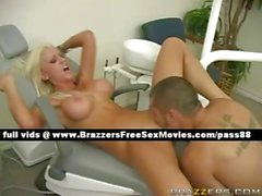 Stunning blonde slut on a dentist chair