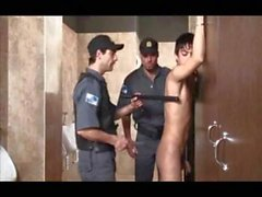 Teen and Security Guards in Shopping Toilettes