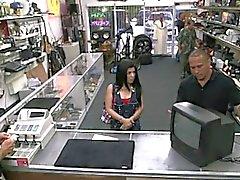 Sexy amaetru Cuban gal sells her TV and banged by pawnkeeper