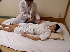 Striking Japanese nurse seduces a doctor to please her achi