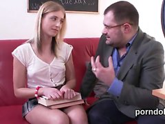 Lovesome bookworm was teased and drilled by her older school
