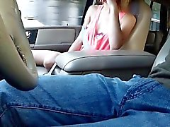 Hitchhiking blonde sucks in public