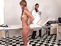Hot Blue Angel gets punished by her lady doctor Peaches