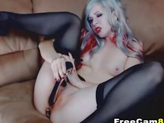 Hot Chick as a Naked Vampire Stuffing both Holes