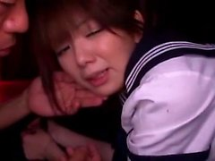 Amateur college babes give guys blowjobs in reality gangbang