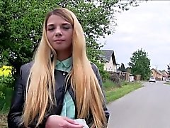 Czech blonde flashing nice tits outdoor