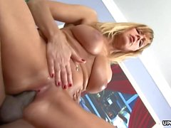 Blonde busty cougar getting fucked with a BBC