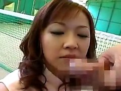Two gorgeous Japanese girls worship a hard dick and share a