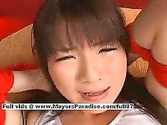 Lovely japanese model gets her hot pussy teased