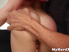 Bikini centerfold blowbanged while fingered