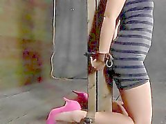 Clamped up babe is receiving lusty facial anguish