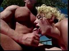 Mature blonde sucks and fucks at the ranch