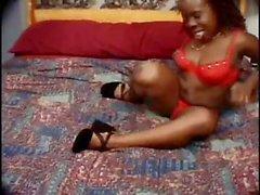 Ebony amateur midget wife sucks his dick and gets a little black midget dick fuck