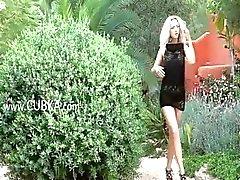 Blonde girl next door teasing public