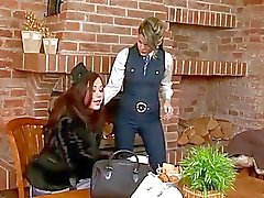 Blonde and brunette playing with hard bazooka on their knees